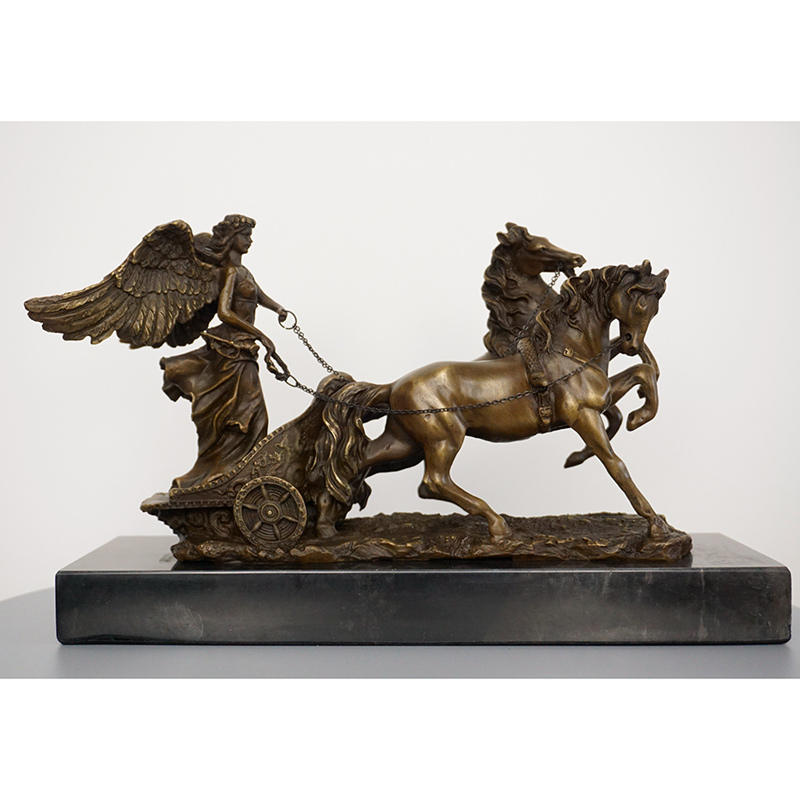 Bronze Angel Horse Sculpture Desktop Decoration