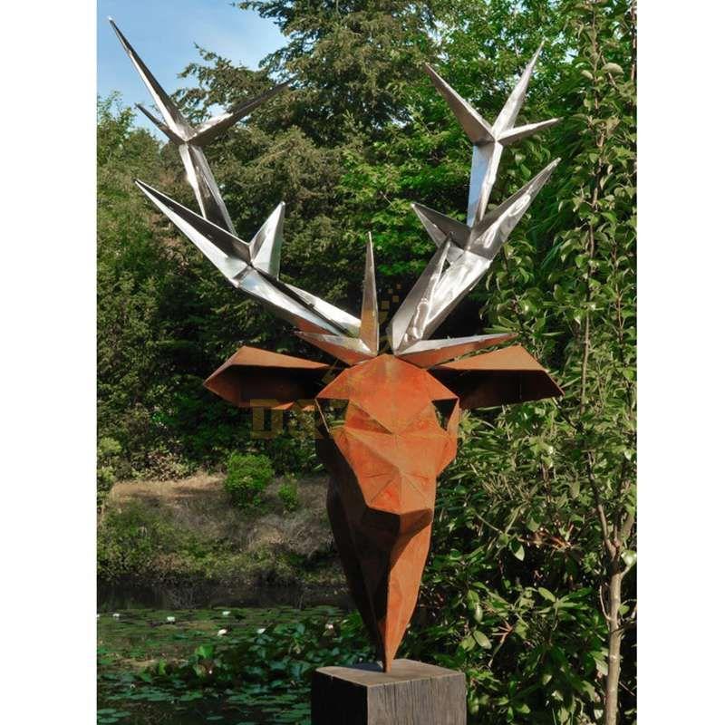 Stainless Steel Deer Head Sculpture for Sale