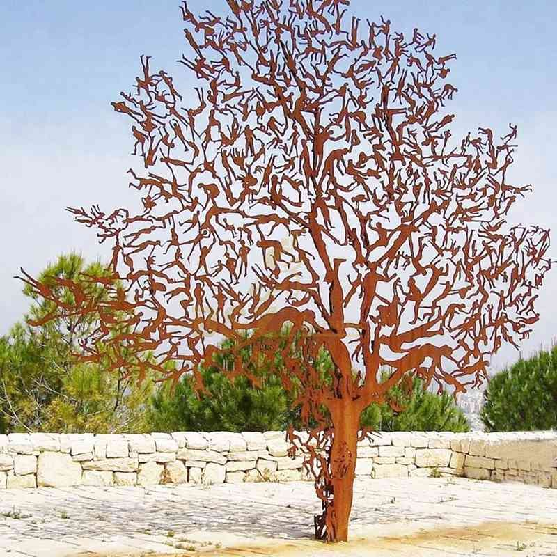 Sculpture Stainless Steel People Corten Steel Tree Sculpture