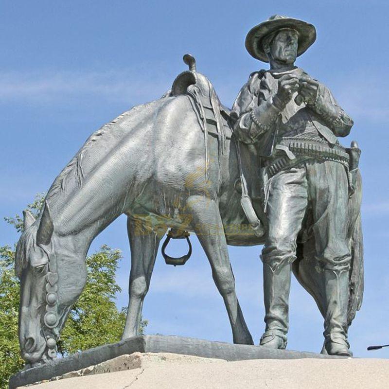 bronze cowboy sculptures with hrose