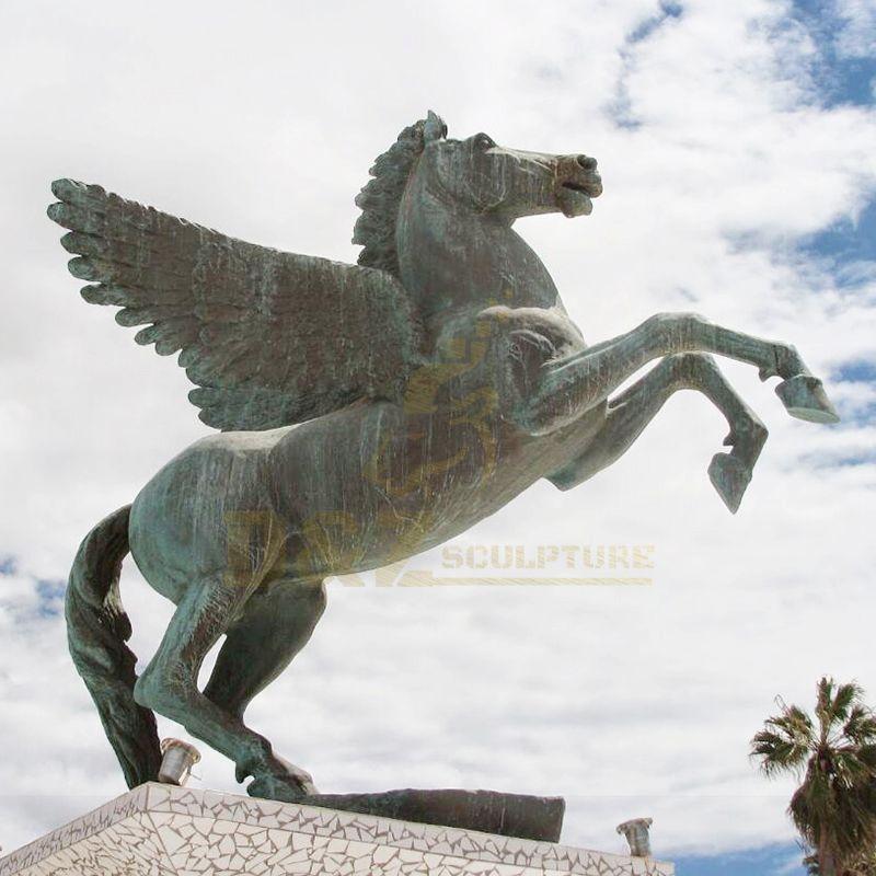 Outdoor Garden Sculpture Cast Large Bronze Horse Statue With Wings