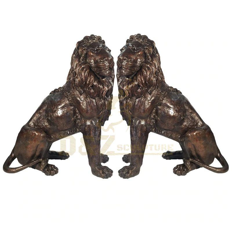 Metal Outdoor Animal Sculpture Antique Large Life Size Bronze Lions Statue