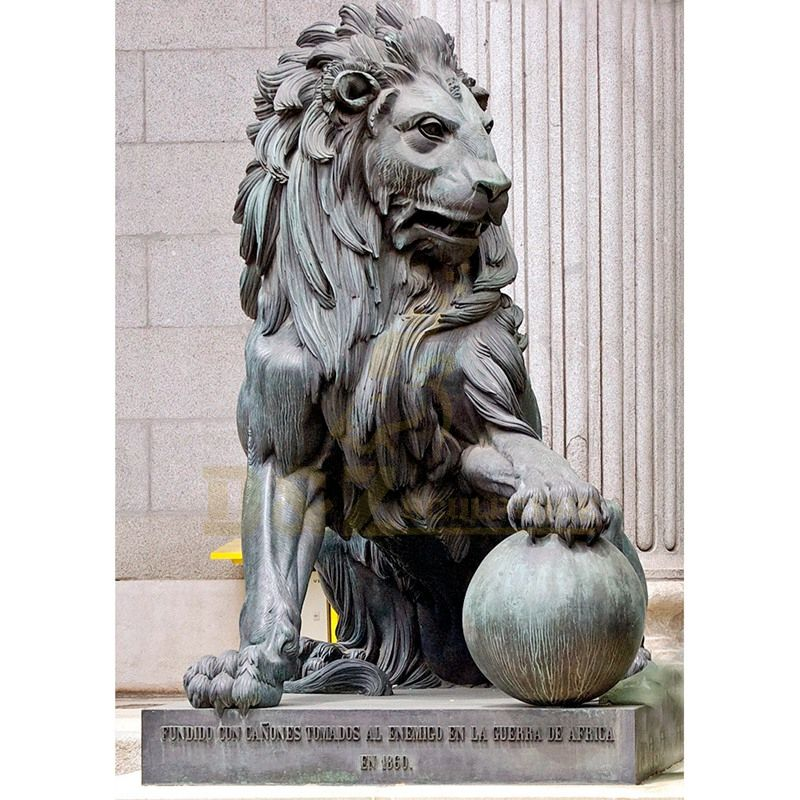 Home Decor Metal Art Sculpture Animals Antique Small Bronze Lion Statue Sculpture On The Ball