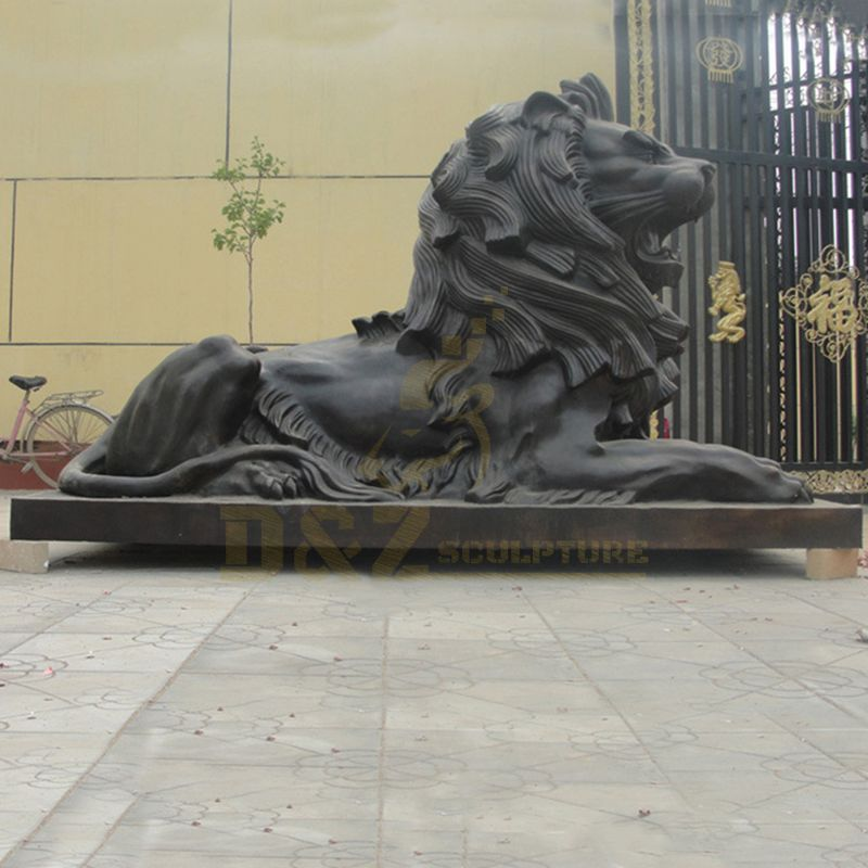 Wholesale Custom Hand Carved Copper Animal Sculpture Brass Bronze Lion Statues