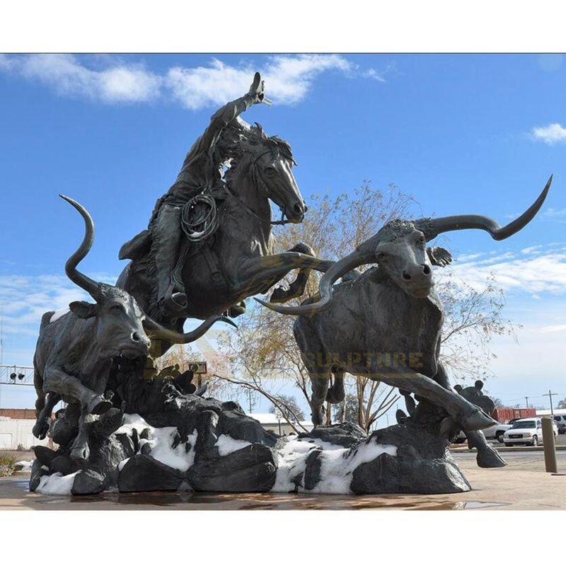 Bronze statue man riding horse cast bronze bull sculpture