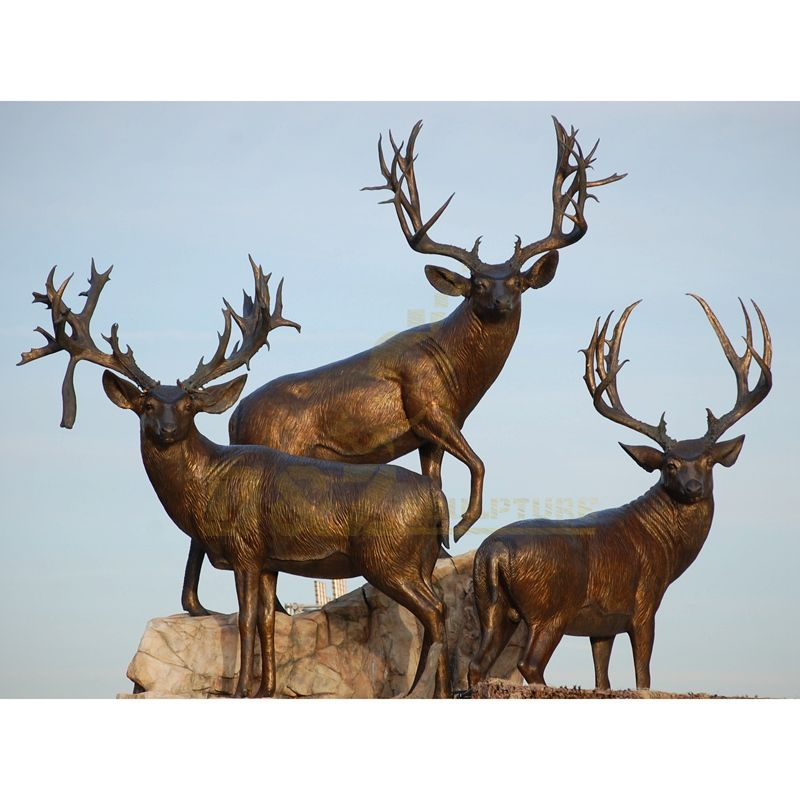 Outdoor Bronze Deer Family Sculpture Elk Statue