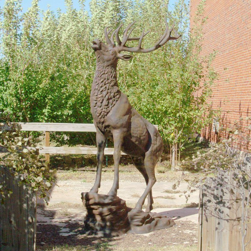 Outdoor Large Garden Metal Craft Animal Bronze Deer Sculpture