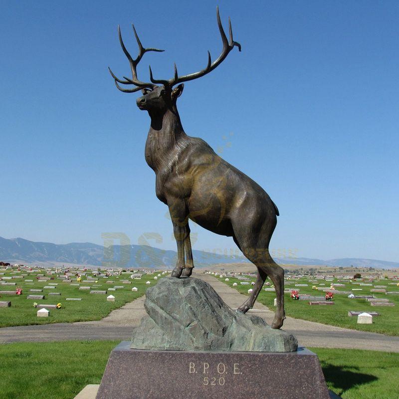 Custom Casting Bronze Life Size Brass Deer Sculpture