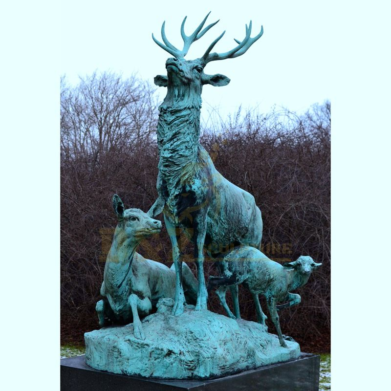 hot casting bronze three sika deers statue sculpture for sale