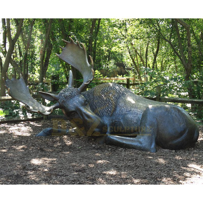 Outdoor Hot Sale Animal Bronze Lying Elk Deer Statue Sculpture