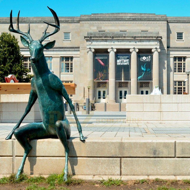 Hot Sale decoration brass deer sculpture cast deer statue