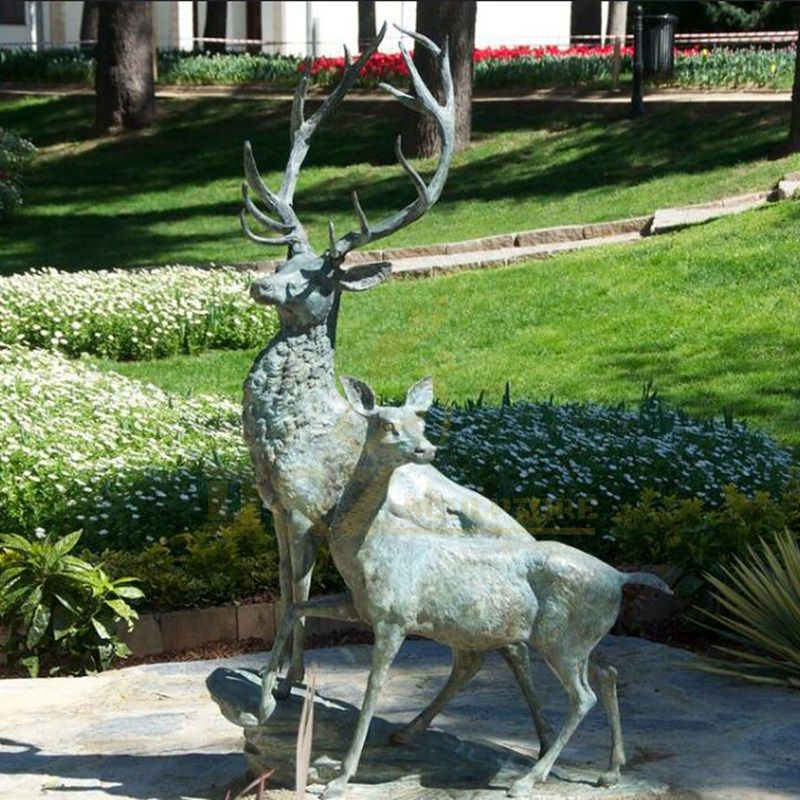 Customized Garden Antique Cast Bronze Deer Sculpture