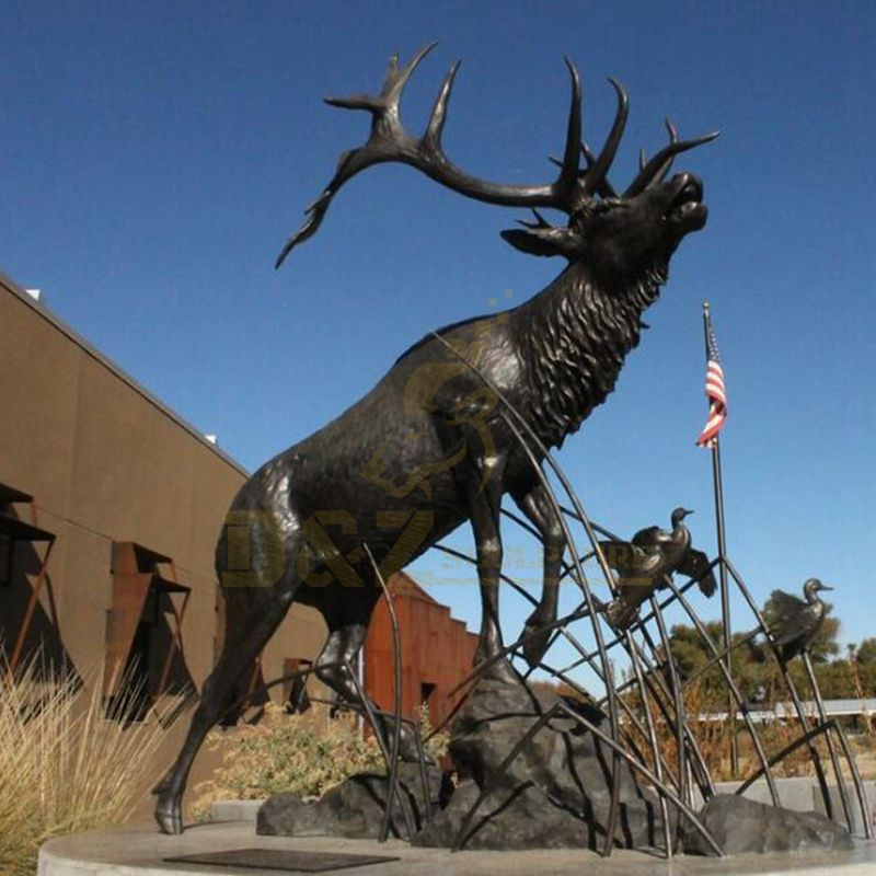 Large Outdoor National Zoo Decor Wildlife Bronze Elk Statue Sculpture