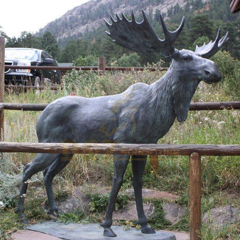 Outdoor Life Size Garden Cast Deer Bronze Elk Sculpture