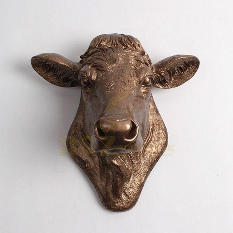 indoor Custom Animal Bronze Bull Wall Art Sculpture