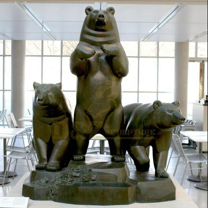 Outdoor Giant Design Large Size Bronze Standing Family Brown Bear Sculpture