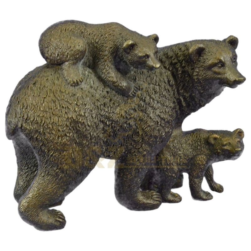 Garden Decor Metal Animal Art Casting Family Bronze Bear Statues