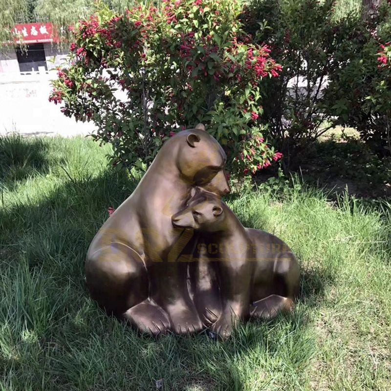 Large Outdoor Garden Standing Bronze Bear Sculpture