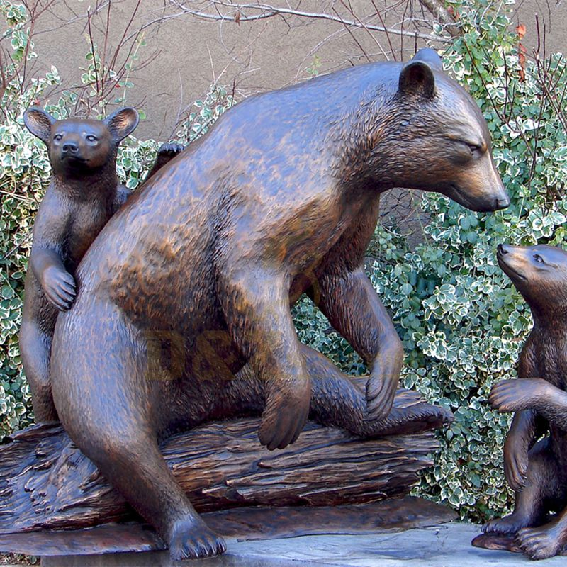 Life Size Bronze Bear Statue Wildlife Copper Garden Sculpture