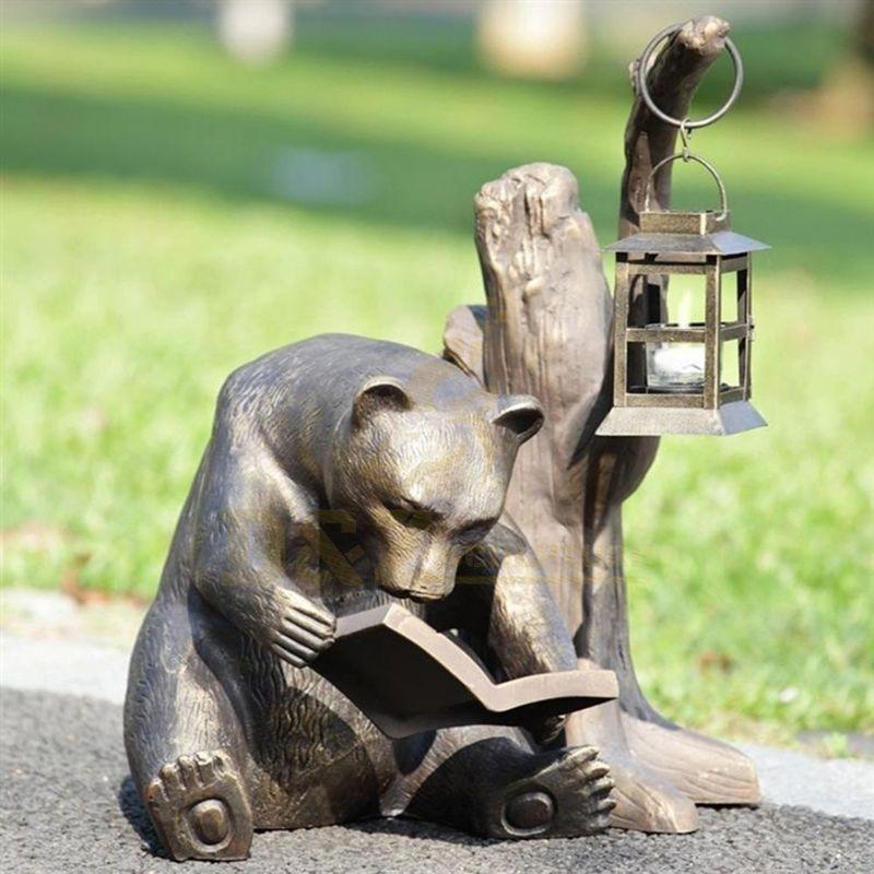 High Quality Life Size Bronze Black Reading Bear Sculpture