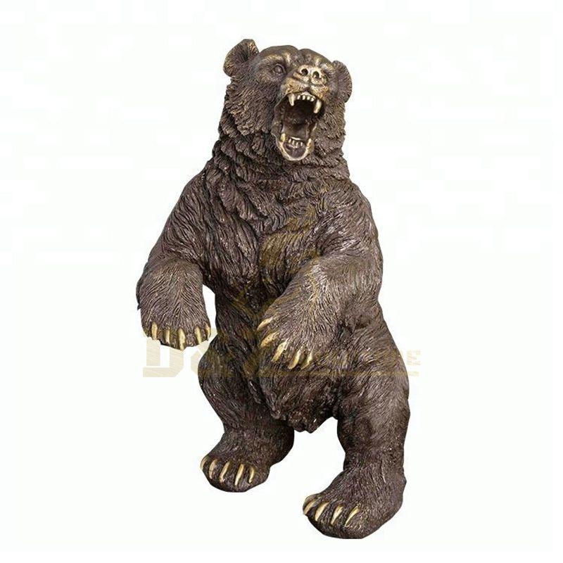 Outdoor Garden Modern Metal Bronze Standing Bear Sculpture
