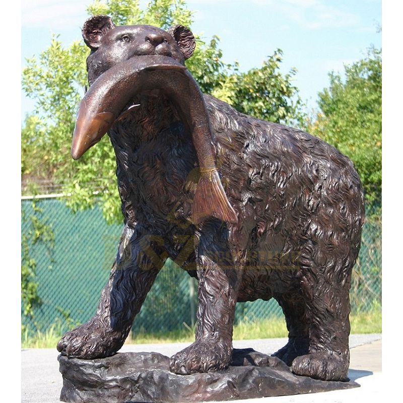 Antique Bronze Black Bear Standing Sculpture With Fish Statue