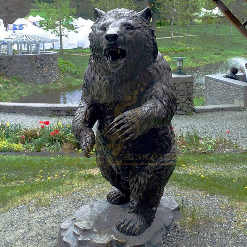Garden Decoration Metal Casting Modern Life Size Bronze Standing Bear Sculpture