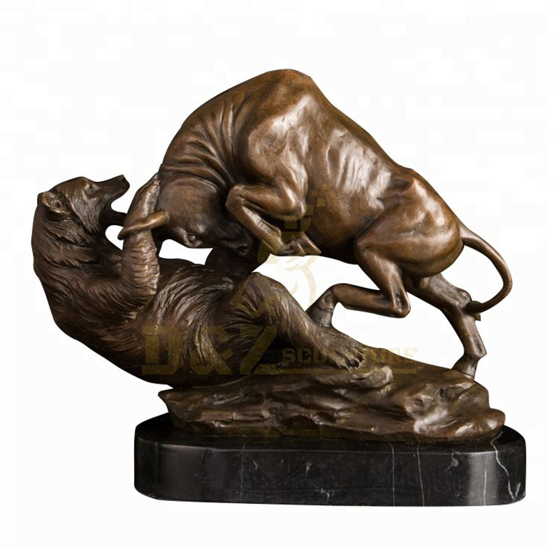 Famous Sculpture Life Size Bronze Bear Fighting with Bull Sculpture