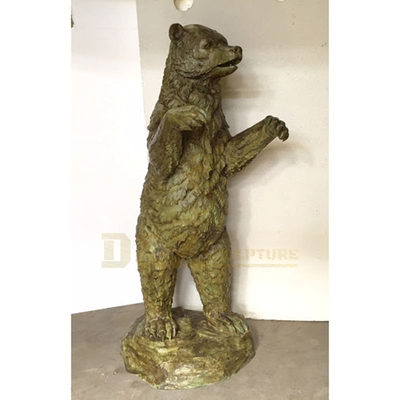 Life Size Bronze Standing Grizzly Bear Sculpture