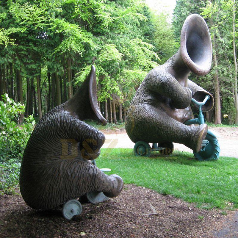 Garden Decor Antique Bronze Large Elephant Metal Brass Sculpture
