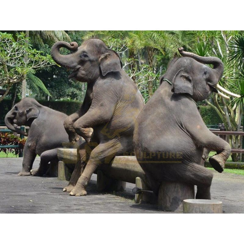 Antique Bronze Elephant Family Sculpture