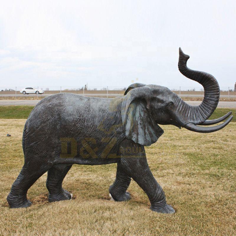 Life Size Bronze African Elephant Garden Statue Large Outdoor Wildlife Sculpture