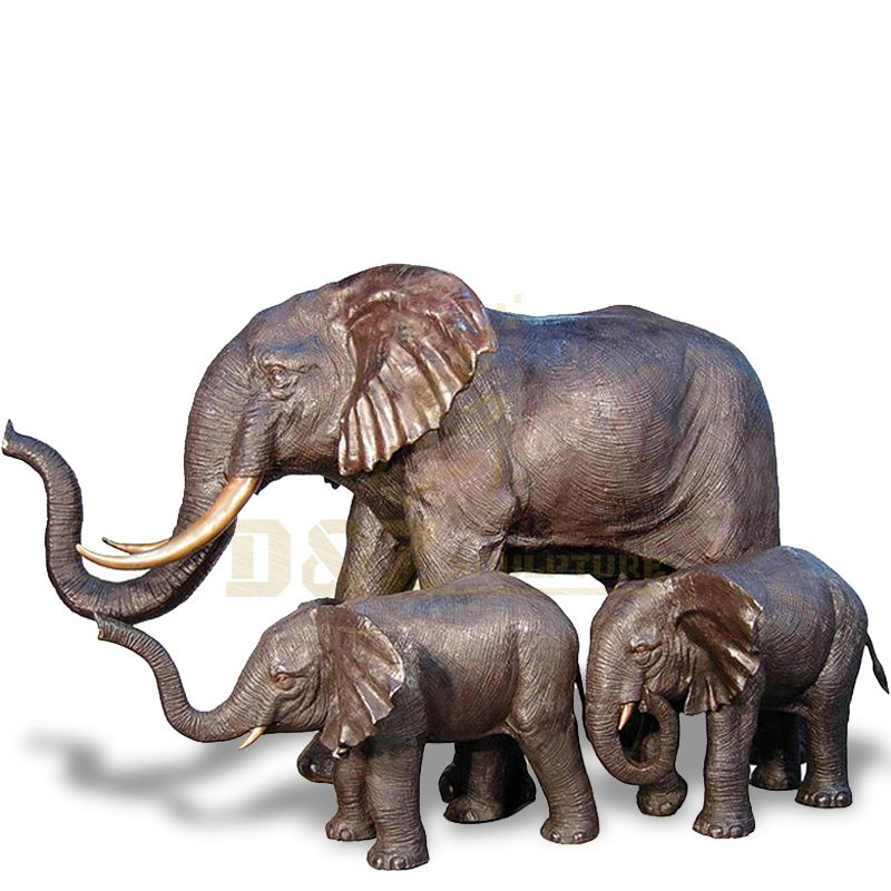 Garden Metal Craft Bronze Elephant Family sculpture