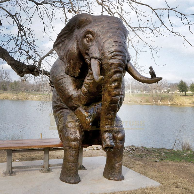 Life Size Antique Elephant Bronze Sculpture