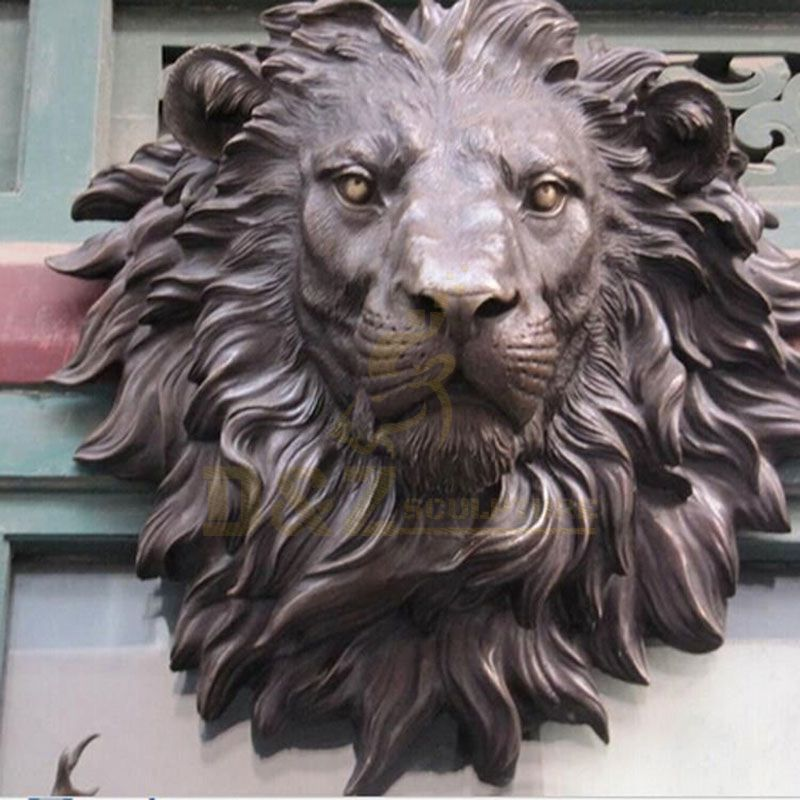 Decorative sculptures animal bronze lion head sculpture