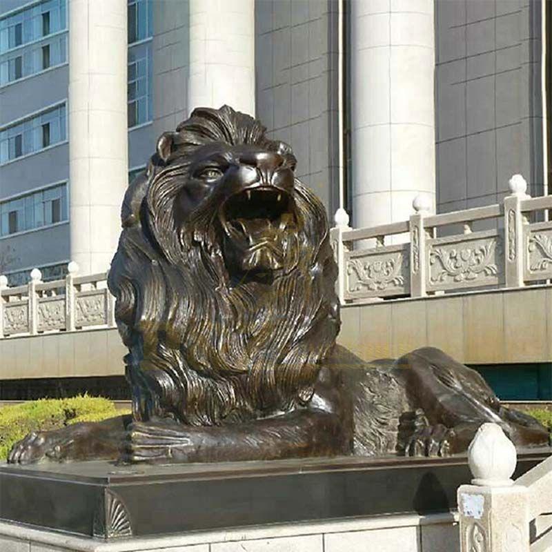 Landscape Large Bronze Front Door Lion Statue Sculpture
