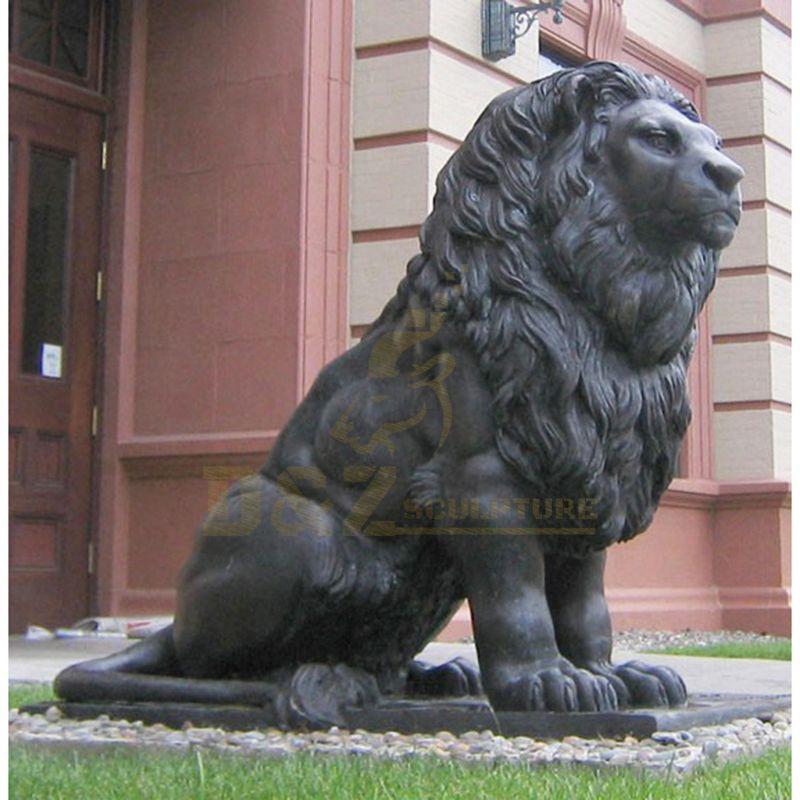 Life Size Brass Lion Statue Pair Large Lions Bronze Garden Sculpture