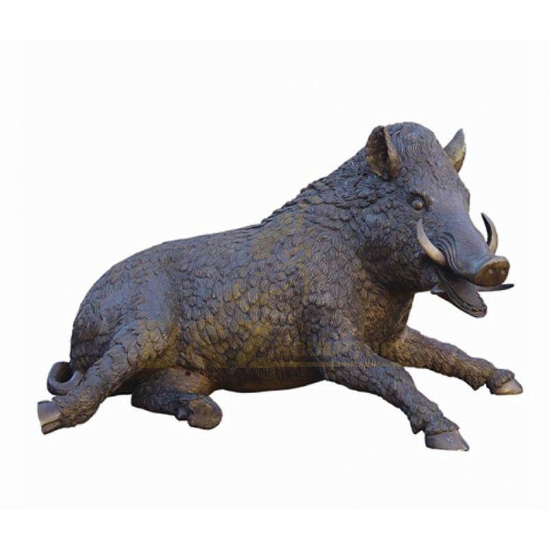 Outdoor Courtyard Decorations Metal Craft Bronze Wild Boar Sculpture