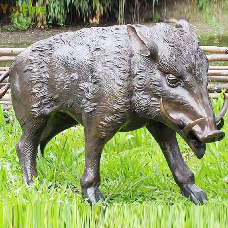 Factory Price Bronze Wild Boar Sculpture