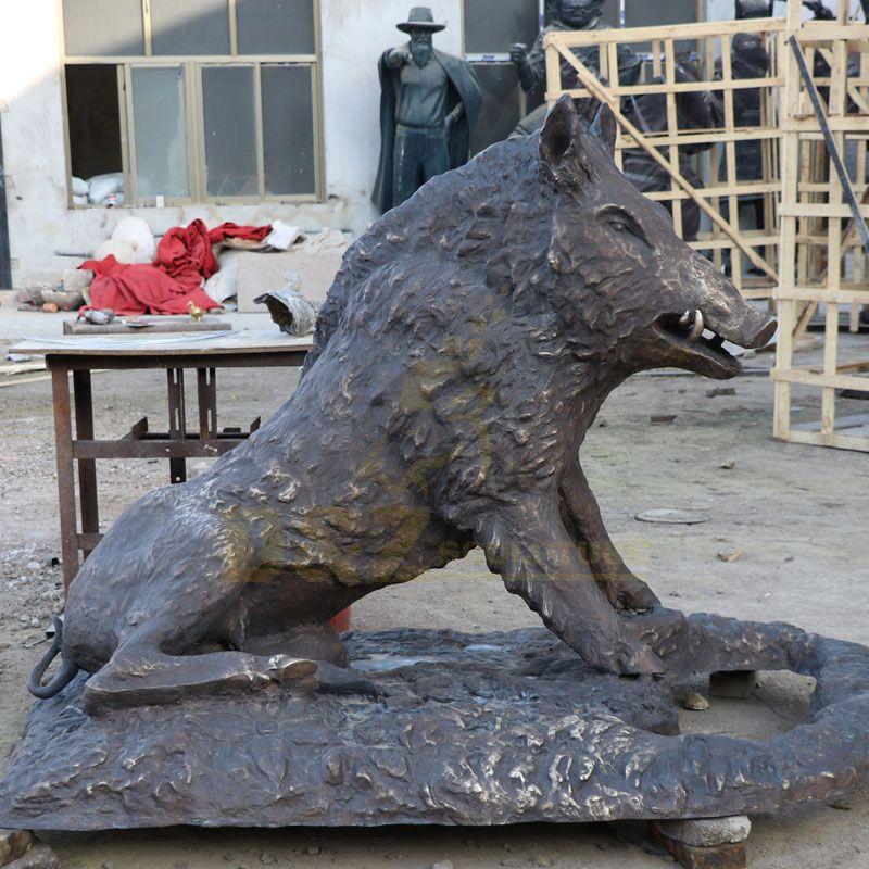Customized Design Decorative Cast Copper Bronze Wild Boar Statue