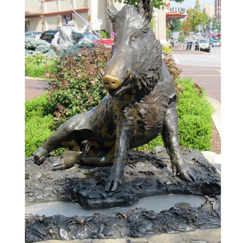 Life Size Animal Bronze Wild Boar Sculpture For Garden