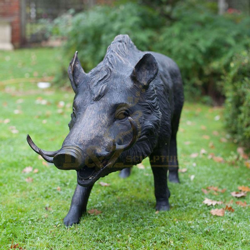 Large bronze wild boar statues garden decoration