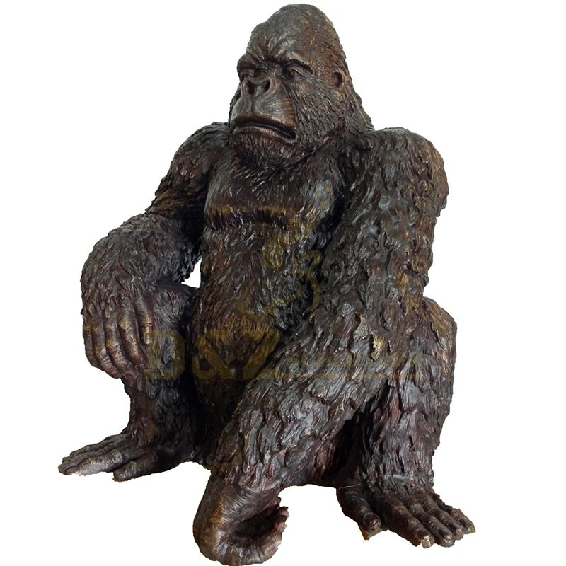 Life Size animal bronze gorilla Sculpture for Decoration