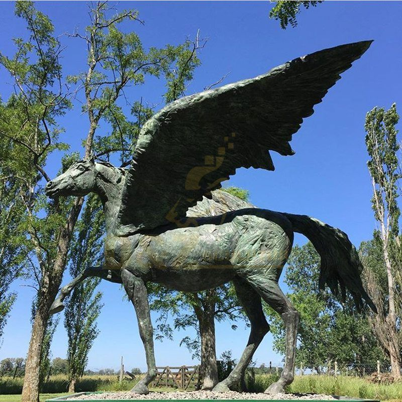 garden animal bronze casting wings sculpture large bronze horse sculpture