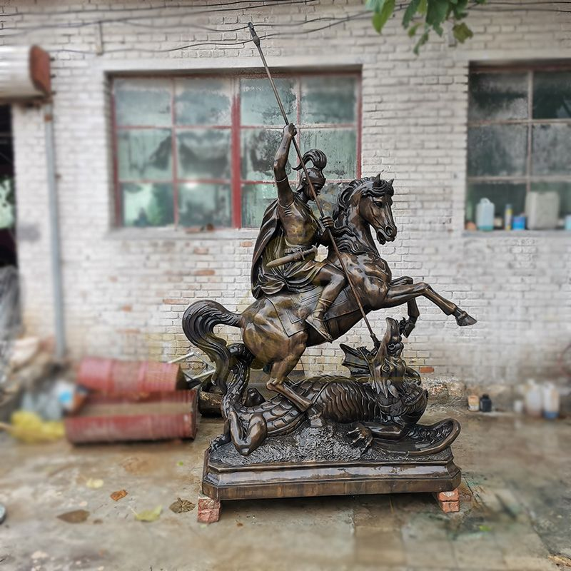 Outdoor Decoration Large Bronze Soldier Antique Horse Statue