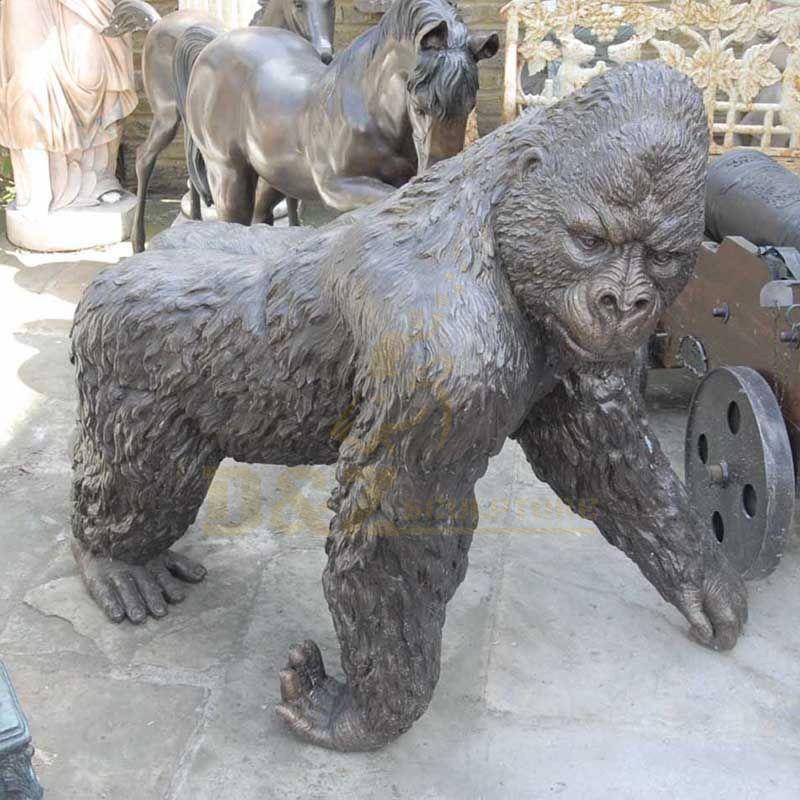 Life Size Bronze Sitting Gorilla Statue Copper Wildlife Garden Sculpture