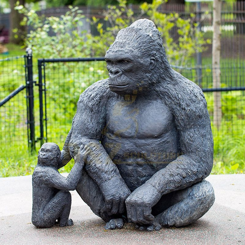 Home Decoration Mother And Child Bronze Gorilla Sculpture