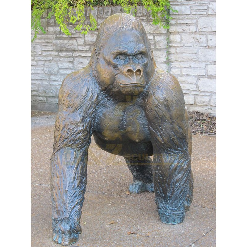 Metal Art Sculpture Life Size Bronze Gorilla Statue for Sale