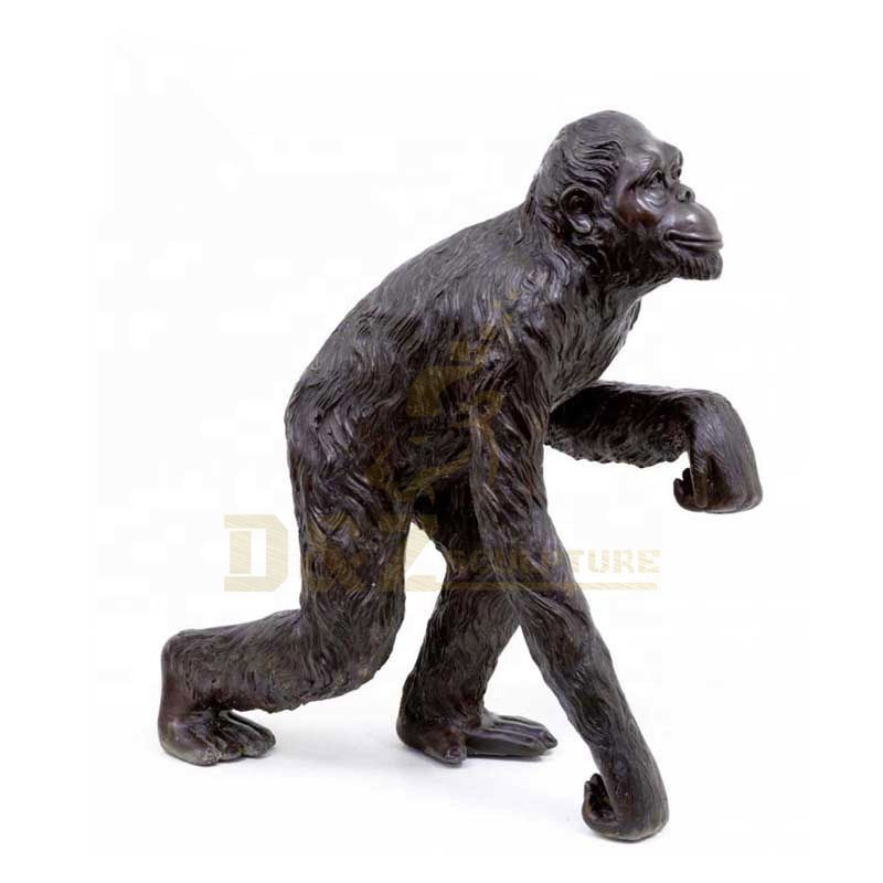 Garden Cast Animal Metal Life Size Brass Gorilla Statue for Sale