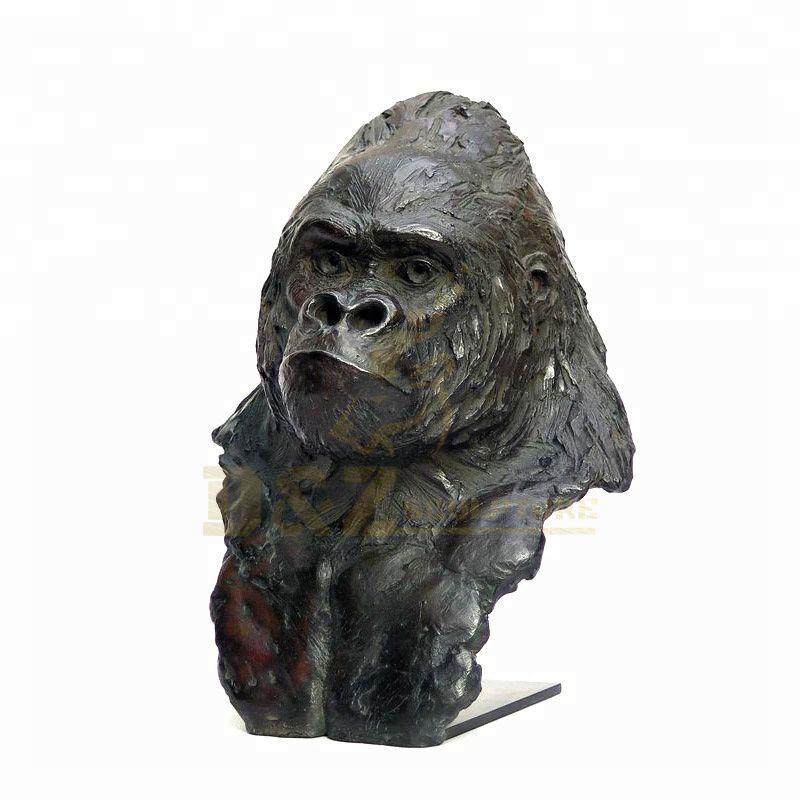 Animal Sculpture Life Size Casting Bronze Gorilla Head Statue
